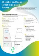 Checklist And Steps To Optimize Sales Funnel Presentation Report Infographic PPT PDF Document