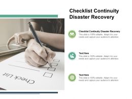 Checklist Continuity Disaster Recovery Ppt Powerpoint Presentation Outline Graphics Example Cpb