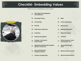 Checklist Embedding Values Policies Ppt Powerpoint Presentation File Ideas