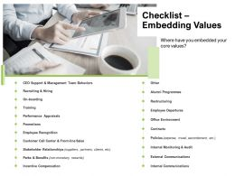 Checklist Embedding Values Promotions Ppt Powerpoint Presentation Styles Graphics