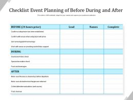 Checklist Event Planning Of Before During And After