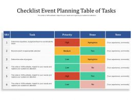 Checklist Event Planning Table Of Tasks