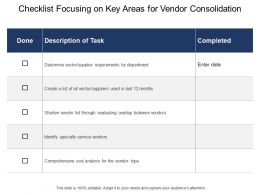 Checklist Focusing On Key Areas For Vendor Consolidation