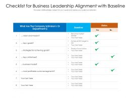 Checklist For Business Leadership Alignment With Baseline