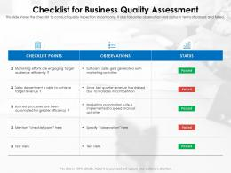 Checklist For Business Quality Assessment