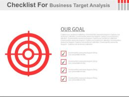 Checklist For Business Target Analysis Powerpoint Slides
