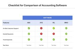Checklist For Comparison Of Accounting Software
