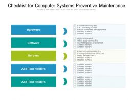 Checklist For Computer Systems Preventive Maintenance