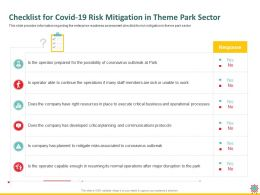 Checklist For Covid 19 Risk Mitigation In Theme Park Sector Outbreak Ppt Powerpoint Presentation Files
