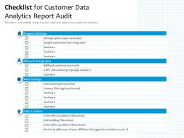 Checklist For Customer Data Analytics Report Audit