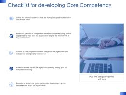 Checklist For Developing Core Competency Growth Strategy Ppt Powerpoint Slides