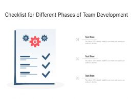 Checklist For Different Phases Of Team Development