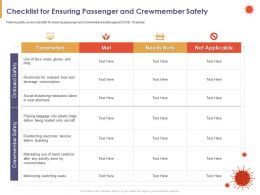 Checklist For Ensuring Passenger And Crewmember Safety Met Powerpoint Presentation Formats