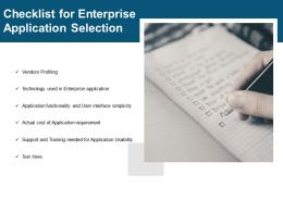 Checklist For Enterprise Application Selection