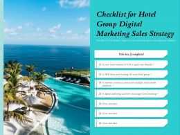 Checklist For Hotel Group Digital Marketing Sales Strategy