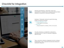 Checklist For Integration Fabrication Ppt Powerpoint Presentation Slides Show
