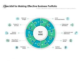 Checklist For Making Effective Business Portfolio
