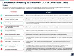 Checklist For Preventing Transmission Of COVID 19 On Board Cruise Ships Ppt Slides