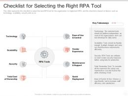 Checklist For Selecting The Right RPA Tool Ppt Powerpoint Presentation Introduction