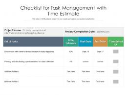 Checklist For Task Management With Time Estimate
