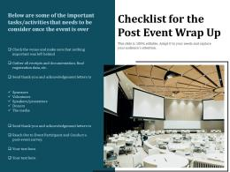 Checklist For The Post Event Wrap Up