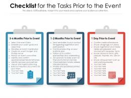 Checklist For The Tasks Prior To The Event