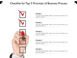 Checklist For Top 5 Priorities Of Business Process