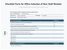 Checklist Form For Office Induction Of New Staff Member