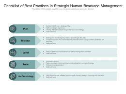 Checklist Of Best Practices In Strategic Human Resource Management