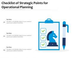 Checklist Of Strategic Points For Operational Planning