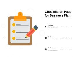Checklist On Page For Business Plan
