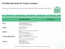 Checklist Questions For Group Coaching Afterwards Ppt Powerpoint Presentation File Skills
