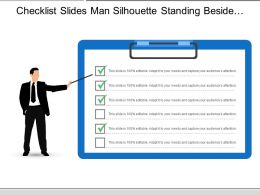 Checklist Slides Man Silhouette Standing Beside Clipboard