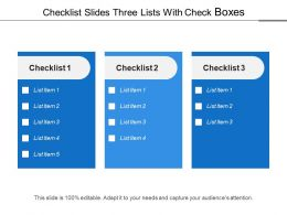 Checklist Slides Three Lists With Check Boxes