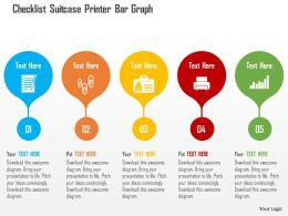 checklist_suitcase_printer_bar_graph_flat_powerpoint_design_Slide01