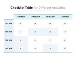 Checklist Table For Different Activities