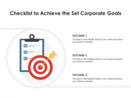 Checklist To Achieve The Set Corporate Goals
