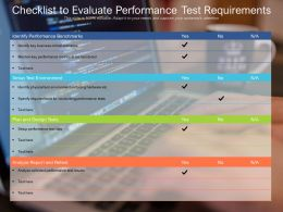 Checklist To Evaluate Performance Test Requirements