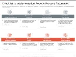 Checklist To Implementation Robotic Process Automation Ppt Powerpoint Presentation Portfolio Structure