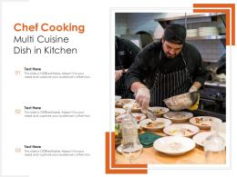 Chef Cooking Multi Cuisine Dish In Kitchen