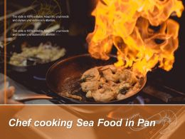 Chef Cooking Sea Food In Pan