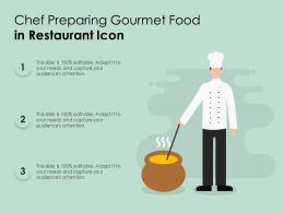 Chef Preparing Gourmet Food In Restaurant Icon