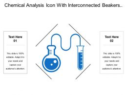 Chemical Analysis Icon With Interconnected Beakers And Molecules