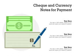 Cheque And Currency Notes For Payment