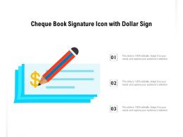 Cheque Book Signature Icon With Dollar Sign