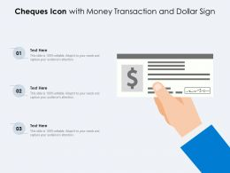 Cheques Icon With Money Transaction And Dollar Sign