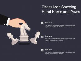 Chess Icon Showing Hand Horse And Pawn