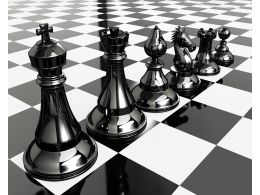 Chess Pieces On Chess Board For Team Strategy Stock Photo