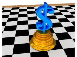 Chessboard And Dollar On Podium Stock Photo