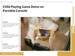Child Playing Game Demo On Portable Console